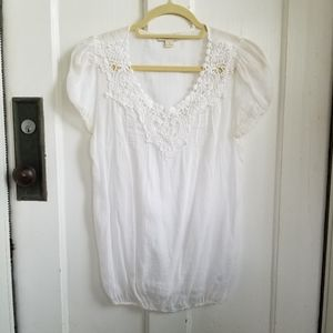 Forever 21 White Peasant Top Size Small